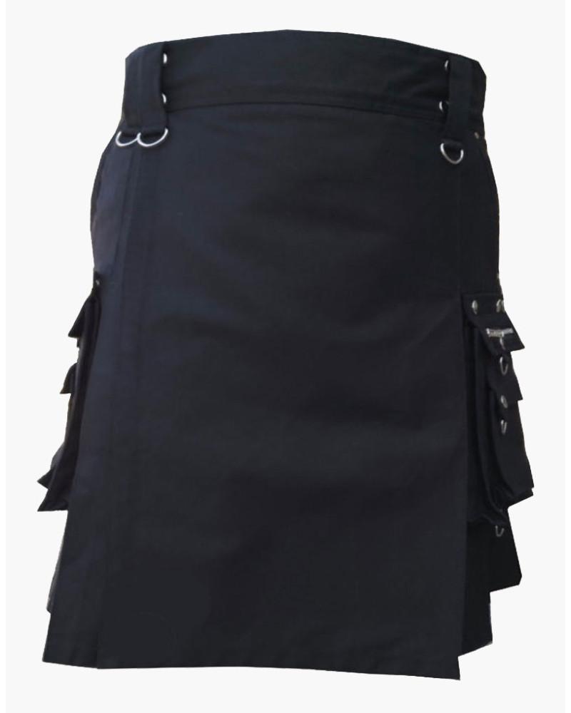 Scottish Deluxe Utility Sports Traditional Black Kilt