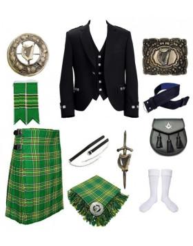 Argyll Irish Green Kilt Outfit With Jacket