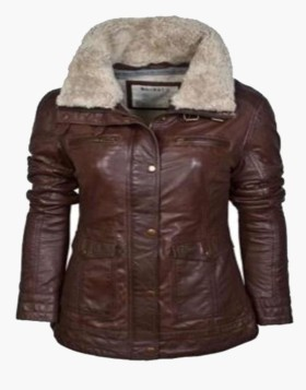 Barneys Biker Leather Jacket with Faux Fur Collar