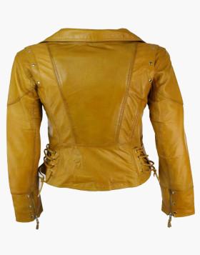 Biker Leather Jacket with Zipper Sleeves