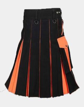Black And Orange Utility Kilt For Men