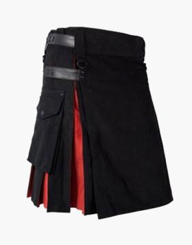 Black And Red Color Hybrid Utility Stylish Liberty Kilt
