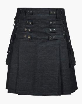 Black Denim Kilt For Women