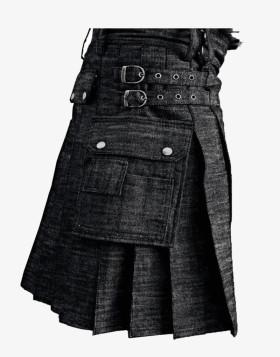 Black Denim Kilt with Cargo Pockets