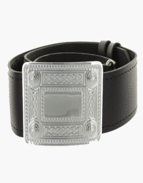 Black Leather Plain Kilt Belt With Buckle Liberty kilts