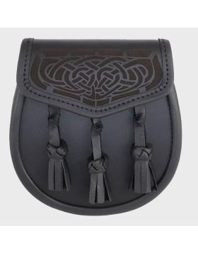 Black Leather with Laser Etched Celtic Design - Leather Sporran - Liberty Kilts