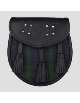 Genuine Leather With Three Tassel Tartan Sporran - Tartan Sporran - Liberty Kilts