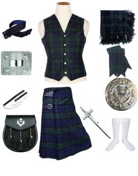 Black Watch Tartan Vest Kilt Outfit Deal