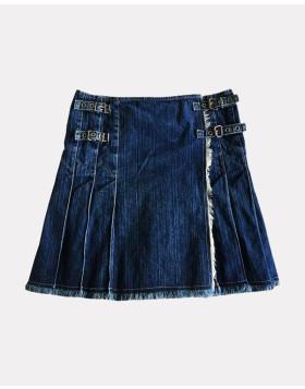 Navy Blue Denim Pleated Kilt For Women - Liberty Kilts