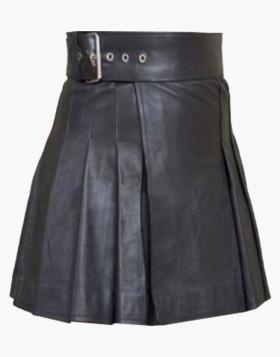 Brand New Stylish Original Black Leather Woman Kilt