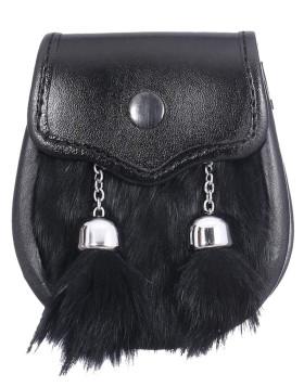 Children's Plain Semi Dress Black Rabbit Fur Sporran
