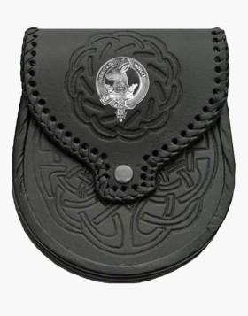 Clan Crest Badge Leather Sporran