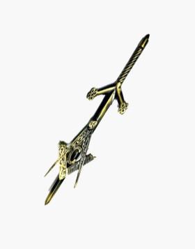 Claymore Sword Masonic Kilt Pin Celtic Design Burnt Golden Finish