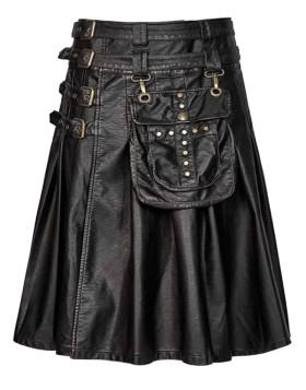 Cowhide Black Leather Gothic Kilt Liberty Kilts