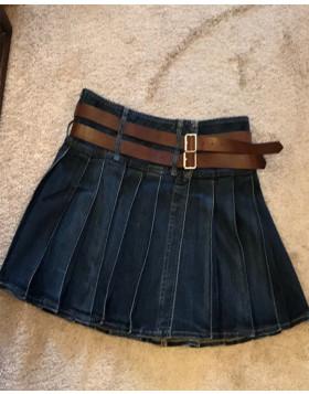 Denim Kilt For Women With Brown Leather Belts - Liberty Kilts
