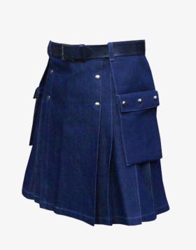 Denim Kilt with Flap Pocket