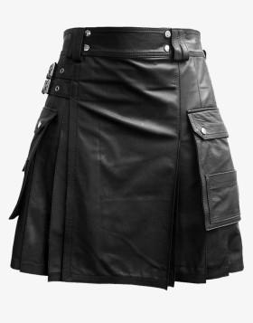 Double Box Pleated Leather Kilt For Men