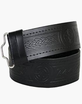 Embossed Leather Kilt Belt - Leather Belt For Kilt - Liberty Kilts