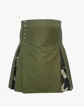 Green Color Dress Hybrid Hiking Kilt For Men