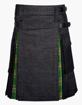 Handmade Custom Men Hybrid Black Denim & Tartan Scottish Kilt