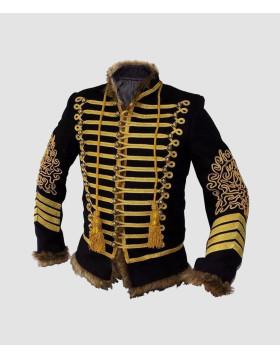 NapoleonHookJacketHandmadeBlackEmbroideryBlackMilitary100 Cotton front - Liberty Kilts