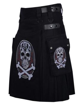Black Printed Cotton Utility Kilt for Men - Scottish Kilt