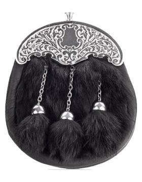 Kids Full Dress Black Rabbit Fur Sporran, Ornate Cantle