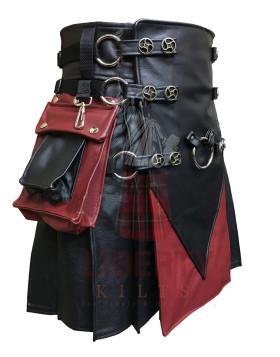 Kilt Black Burgundy Leather Black Leather Straps Removable Pockets