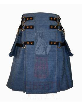 Kilt Blue Jean Denim Cargo Kilt - Denim Kilt For Sale - Kilt For Unisex - Liberty Kilts
