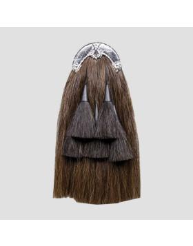 Long Horsehair Piper Sporran With 3 Black Tassels- Horsehair Sporran - Liberty Kilts