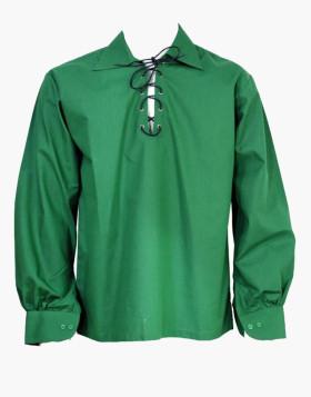 Man Scottish Jacobite Ghillie Green Kilt Shirt