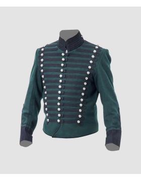 Napoleonic British 95th Rifles Jacket Tunic Steampunk Military Uniform Leather Hussar Jacket Navy Blue Army Jacket - Liberty Kilts