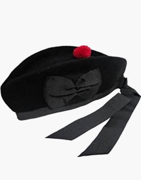 New Man Scottish Glengarry Black Wool Kilt Cap - Liberty Kilts