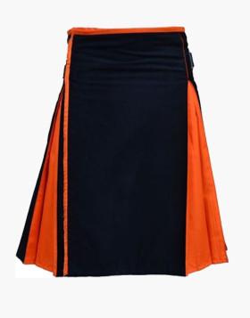 New Men Classic Hybrid Black And Orange 100% Cotton Kilt
