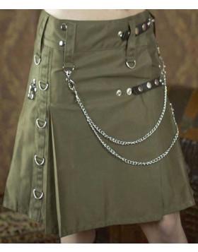 Olive Green Modern Women Cotton Fashion Utility Designer Pocket kilt