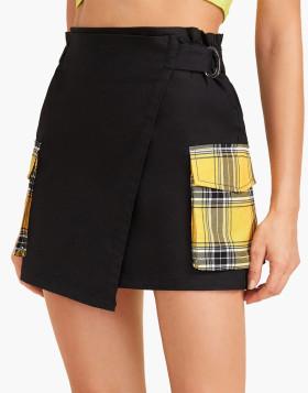 Plaid Pocket Side Wrap Skirt