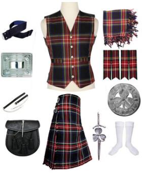 Best Royal Stewart Tartan Vest Kilt Outfit Deal