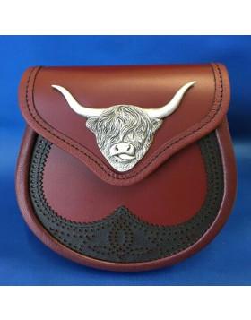 Scottish Saddle Cow Oxblood Leather Sporran - Leather Sporran For Sale - Liberty Kilts