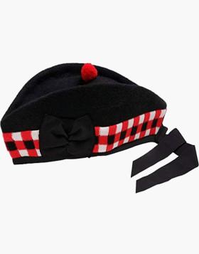 Scottish Piper Cap 100% Pure Wool Black Glengarry Cap - Liberty Kilts