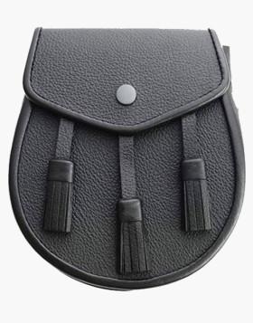 Scottish Three Tassel Leather Sporran With Free Chain Belt