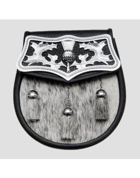 Semi Dress Black Calfskin Thistle Plate Sporran - Sporran For Sale - Liberty Kilts