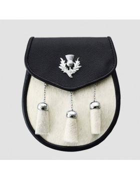 Semi Dress Fur Leather Sporran WIth Belt Chains
