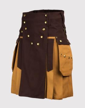 Brown Black Color Stylish Tactical Hybrid Combat Kilt