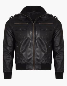 Vintage Slim Fit Black Leather Jacket